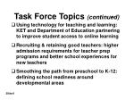 task force topics continued