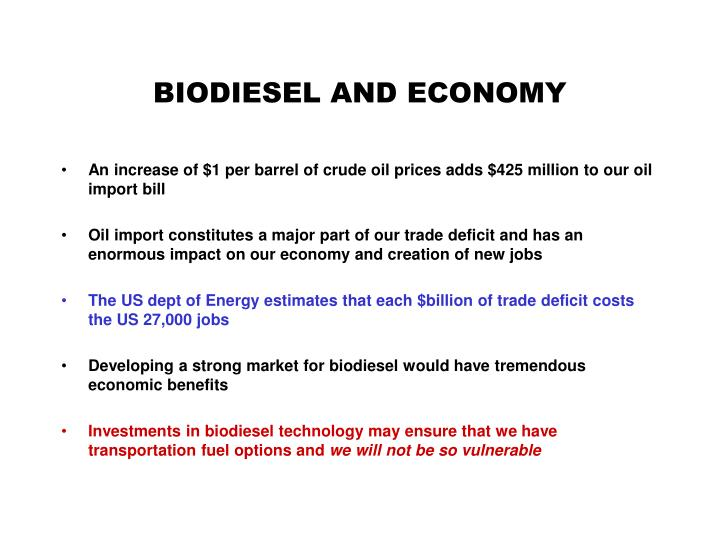 BIODIESEL AND ECONOMY