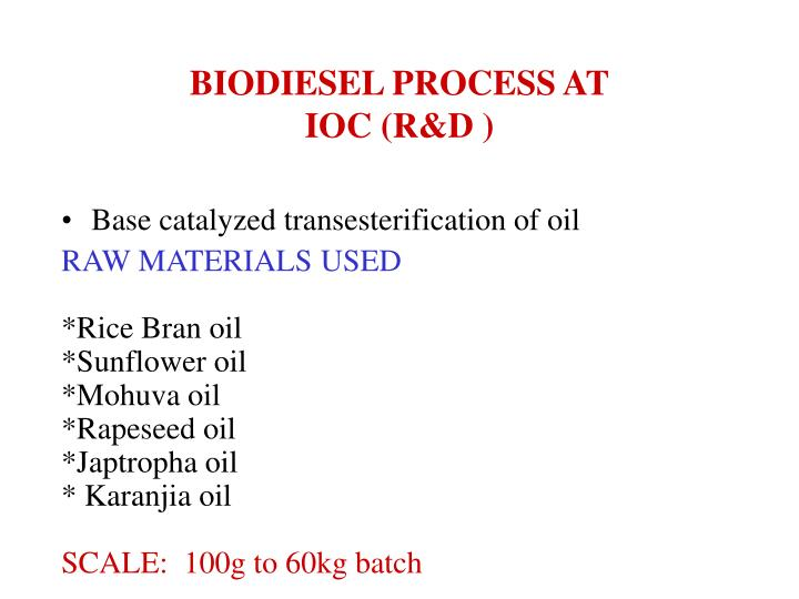 BIODIESEL PROCESS AT