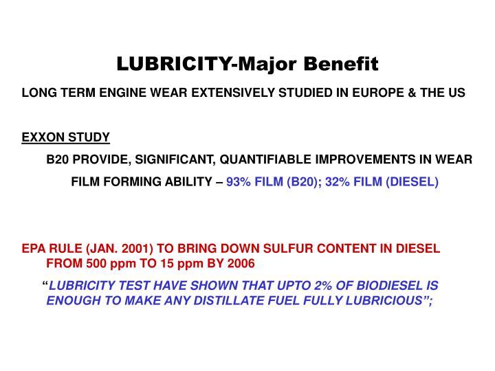 LUBRICITY-Major Benefit