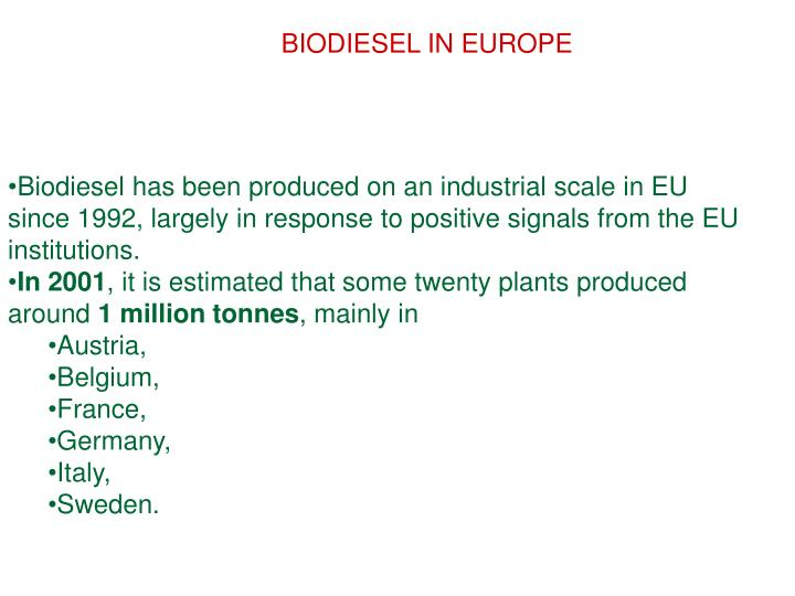 BIODIESEL IN EUROPE