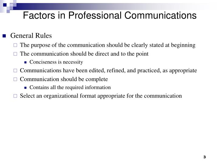 Factors in professional communications1
