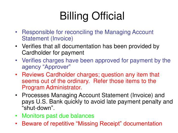 Billing Official