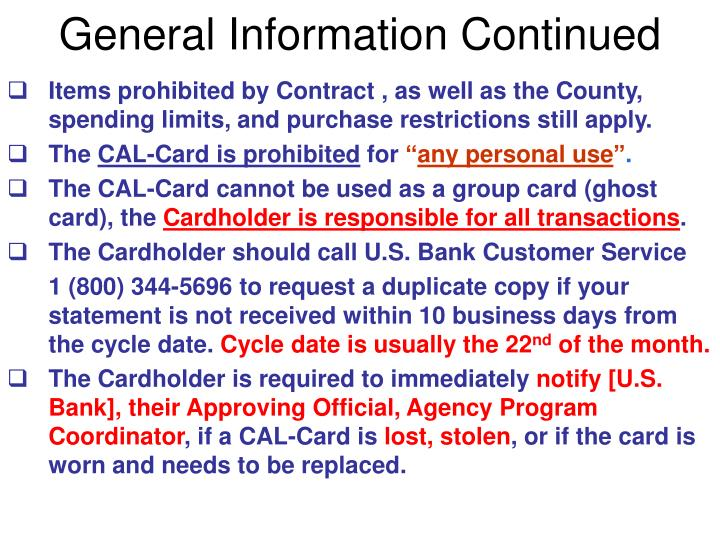 General Information Continued