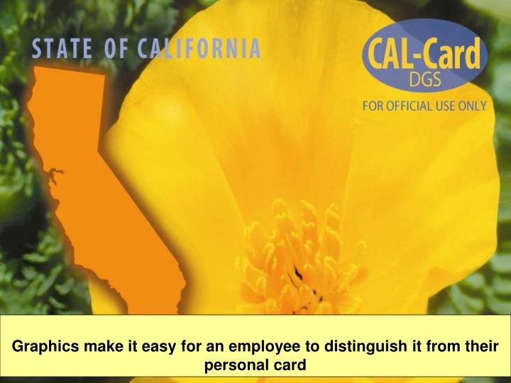 Graphics make it easy for an employee to distinguish it from their personal card
