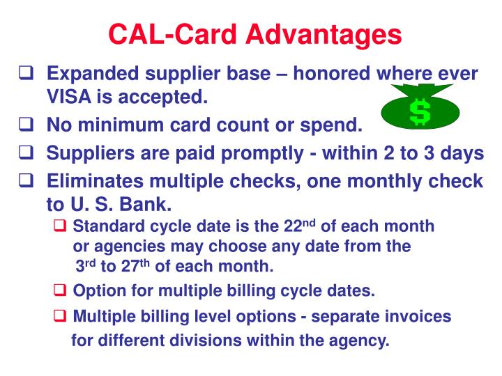 CAL-Card Advantages