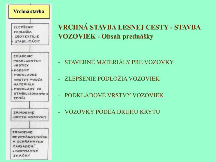 VRCHNÁ STAVBA LESNEJ CESTY - STAVBA VOZOVIEK - Obsah prednášky