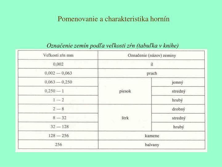 Pomenovanie a charakteristika hornín