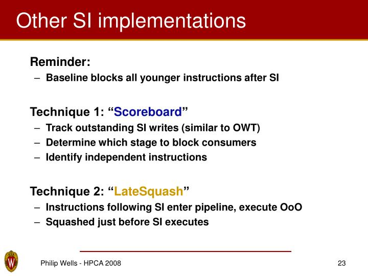 Other SI implementations