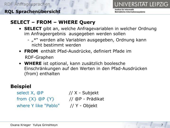 RQL Sprachenübersicht