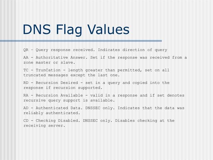 DNS Flag Values