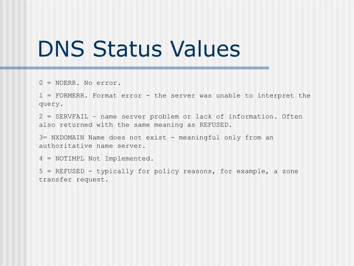 DNS Status Values
