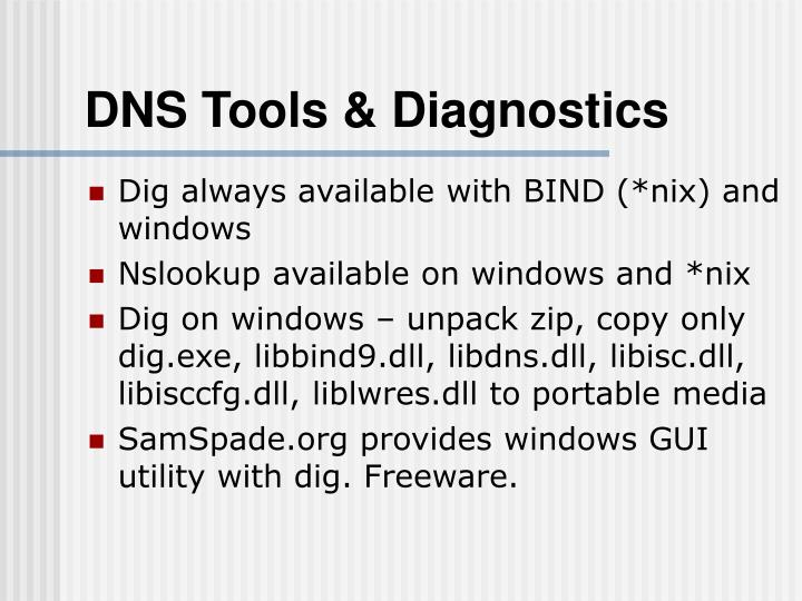 Dns tools diagnostics