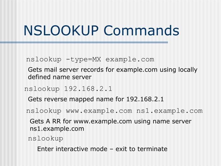 NSLOOKUP Commands