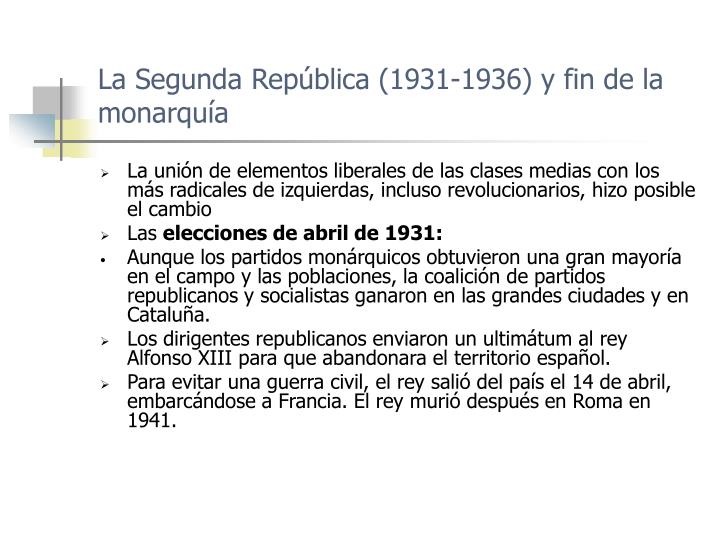La Segunda República (1931-1936) y fin de la monarquía