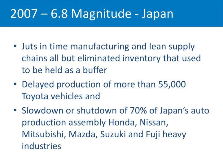 2007 – 6.8 Magnitude - Japan