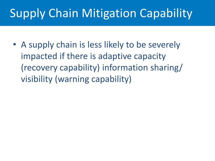 Supply Chain Mitigation Capability