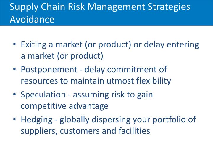 Supply Chain Risk Management Strategies Avoidance