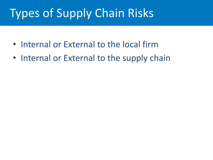 Types of Supply Chain Risks
