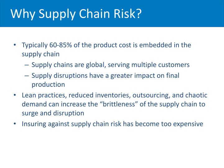 Why Supply Chain Risk?