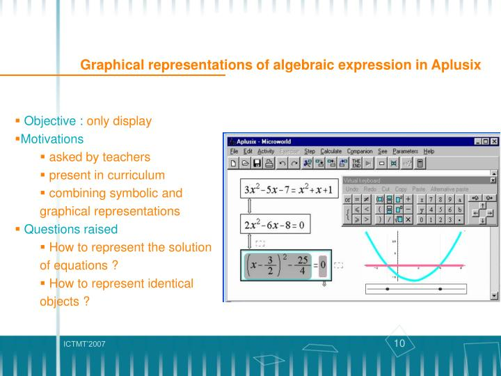 Graphical representations of algebraic expression in Aplusix