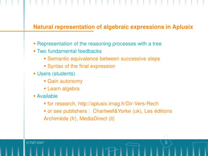 Natural representation of algebraic expressions in Aplusix
