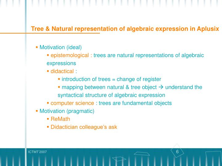 Tree & Natural representation of algebraic expression in Aplusix