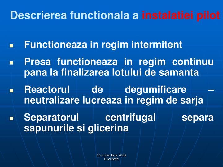 Descrierea functionala a