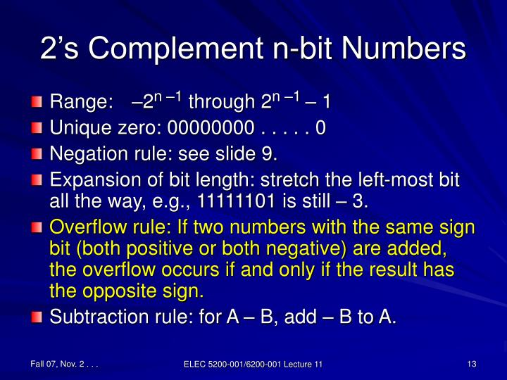 2's Complement n-bit Numbers