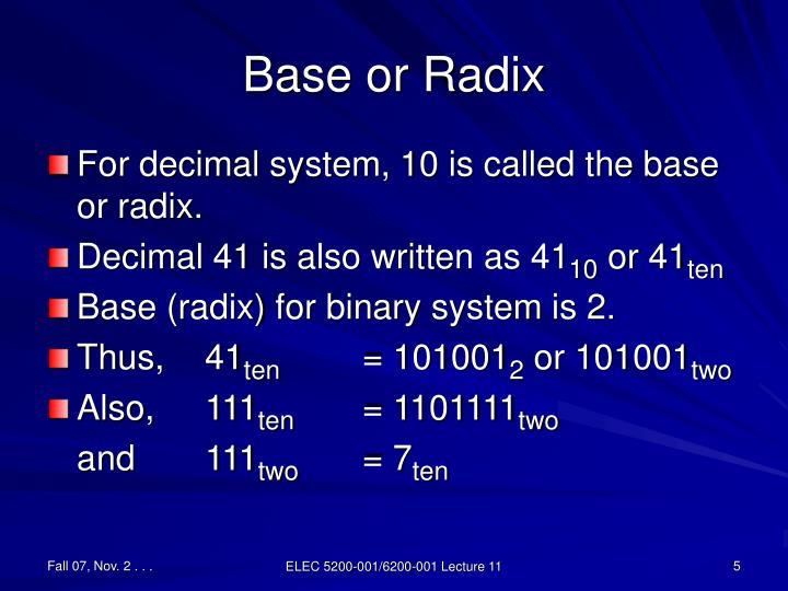 Base or Radix