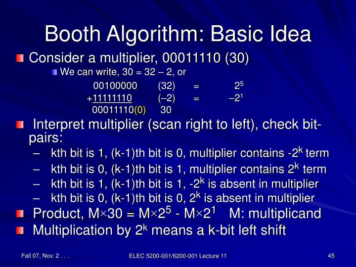 Booth Algorithm: Basic Idea