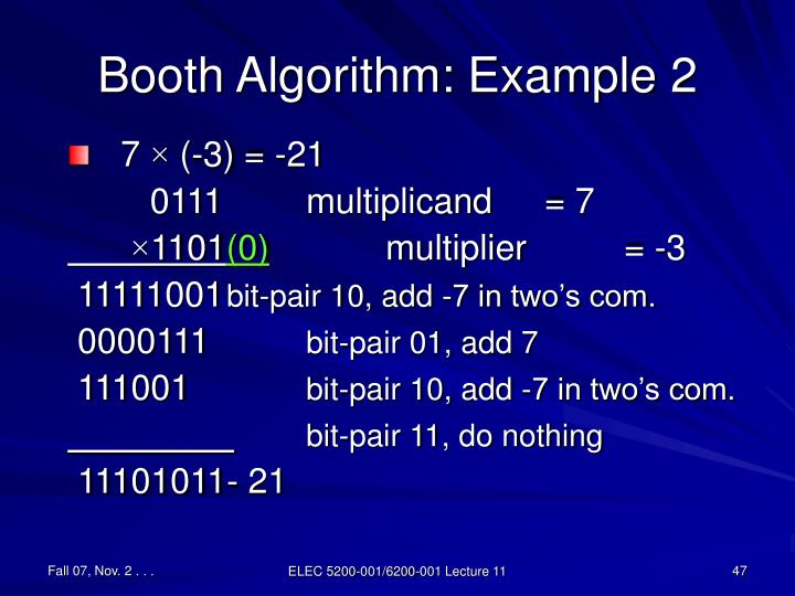 Booth Algorithm: Example 2