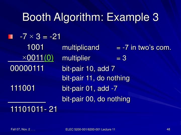 Booth Algorithm: Example 3