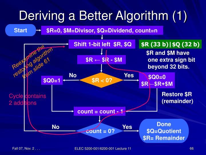Deriving a Better Algorithm (1)