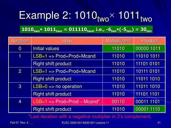Example 2: 1010