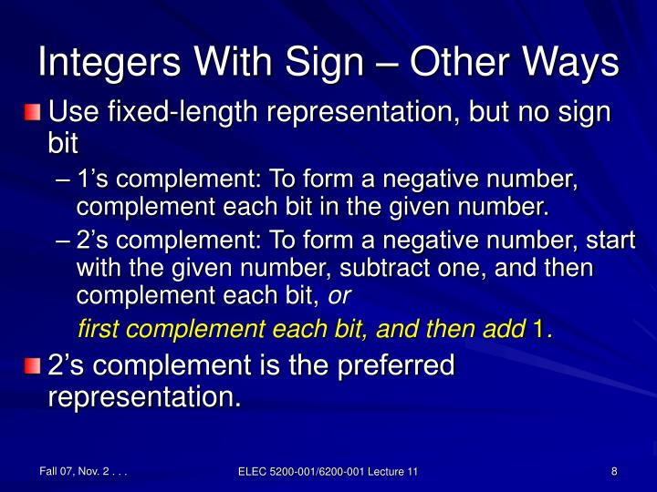 Integers With Sign – Other Ways