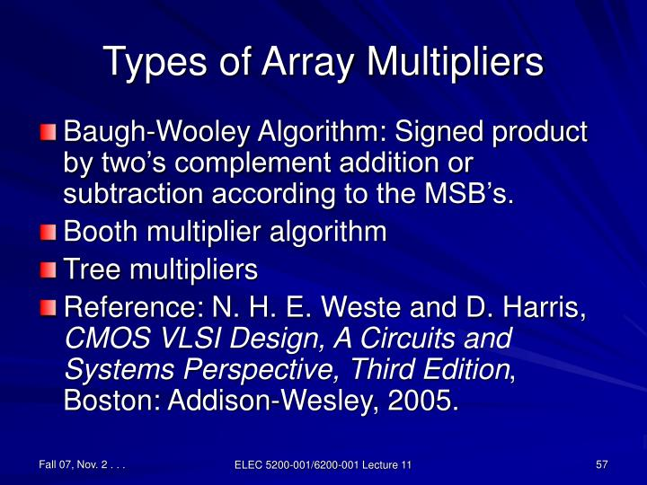 Types of Array Multipliers