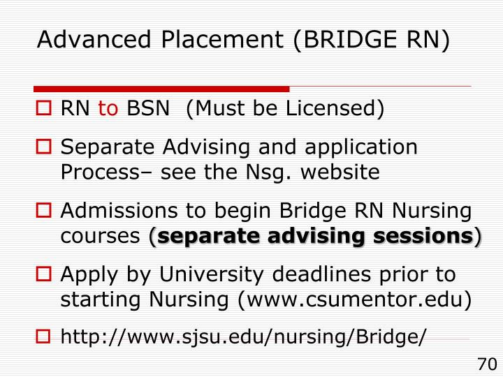 Advanced Placement (BRIDGE RN)