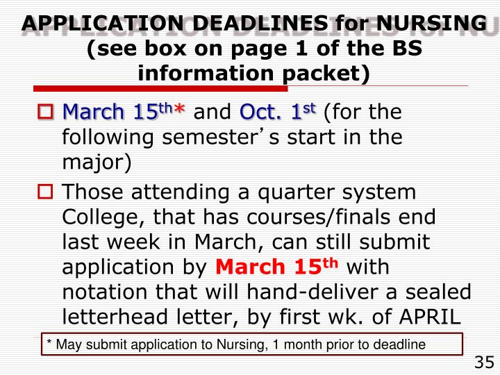 APPLICATION DEADLINES for