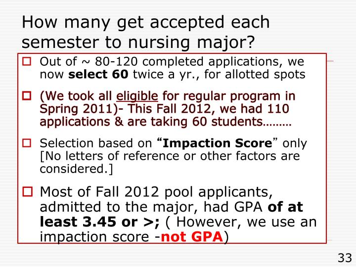 How many get accepted each semester to nursing major?