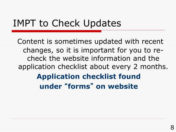 IMPT to Check Updates