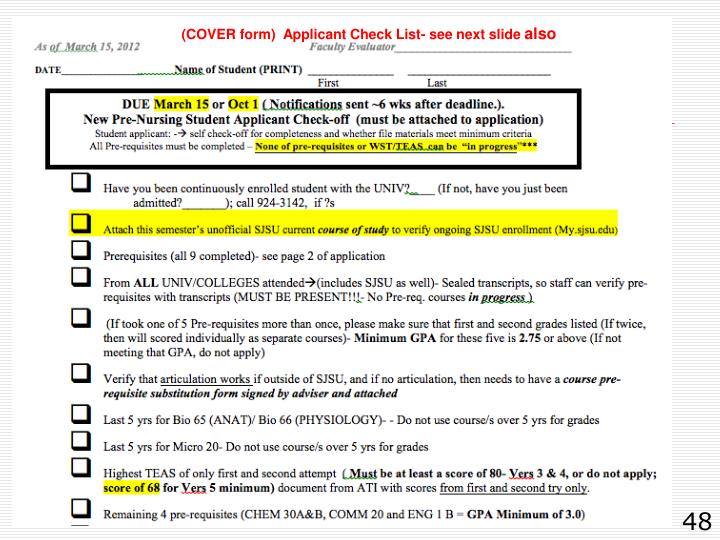 (COVER form)  Applicant Check List- see next slide