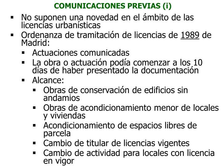 COMUNICACIONES PREVIAS (i)