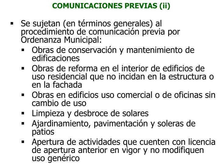 COMUNICACIONES PREVIAS (ii)