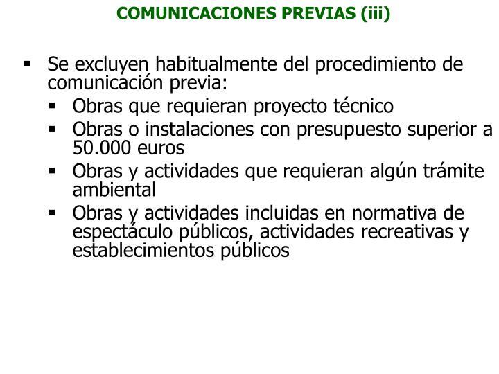COMUNICACIONES PREVIAS (iii)