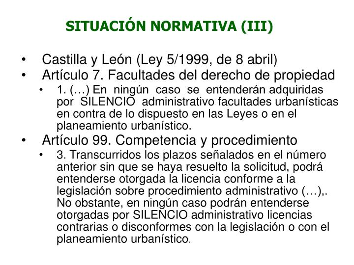 SITUACIÓN NORMATIVA (III)