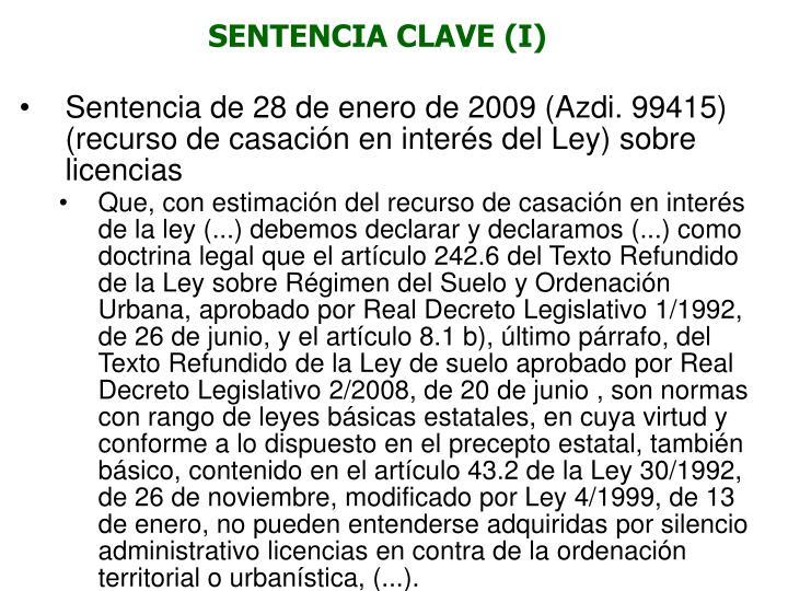 SENTENCIA CLAVE (I)