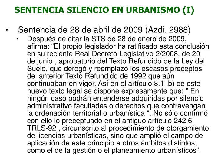 SENTENCIA SILENCIO EN URBANISMO (I)