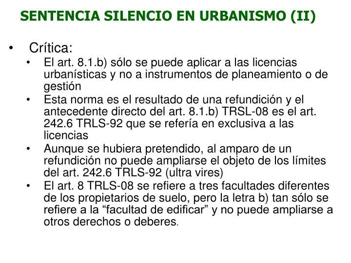 SENTENCIA SILENCIO EN URBANISMO (II)