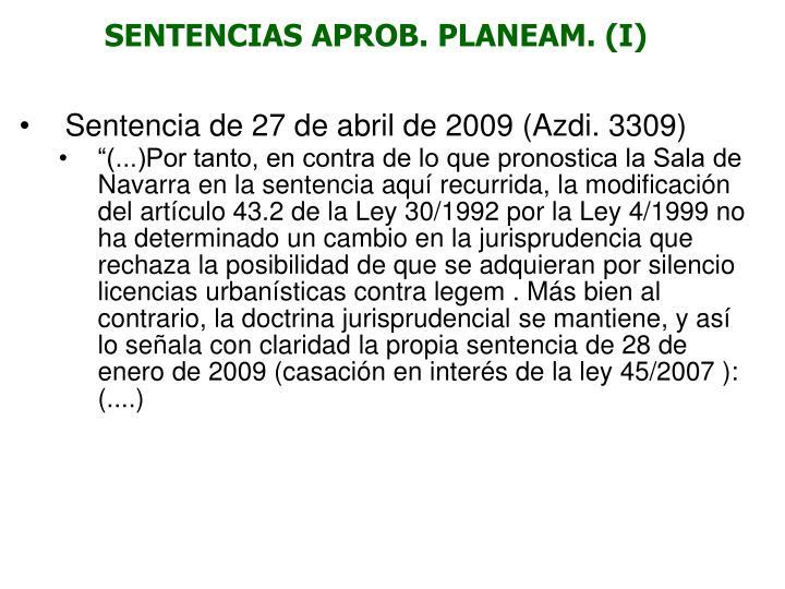 SENTENCIAS APROB. PLANEAM. (I)